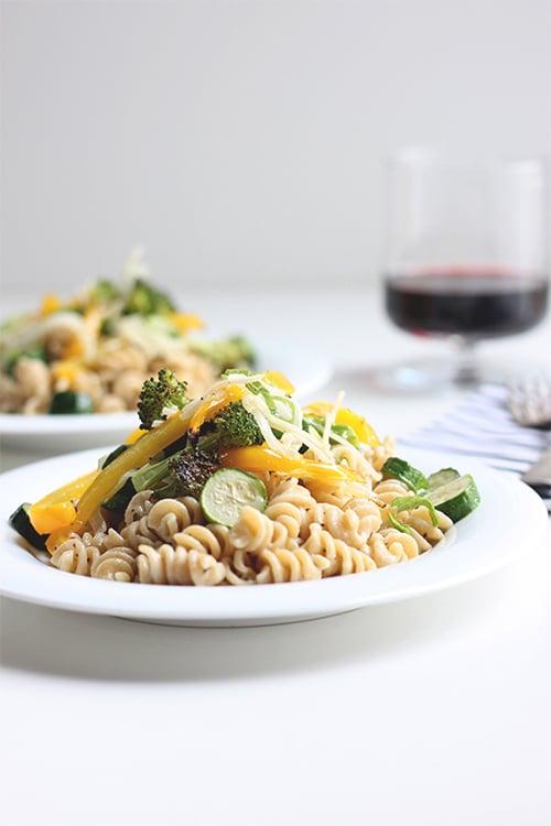 Quick Pasta + Roasted Veggies | The Fauxmartha