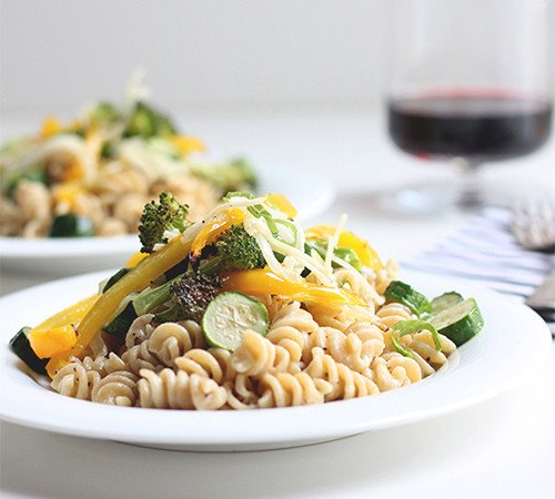 Quick Pasta + Roasted Veggies | The Fauxmartha