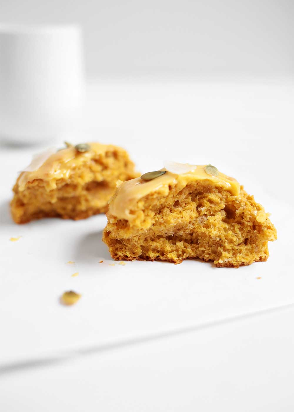 bite of Pumpkin scone from the faux martha