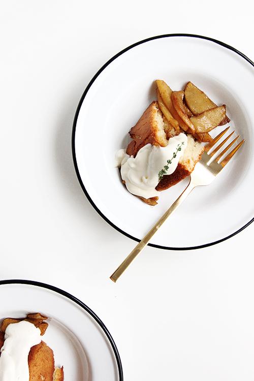 Wine Sautéed Apples over Cake | @thefauxmartha