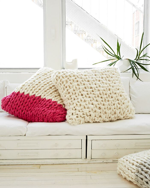Knitting without Needles pillows