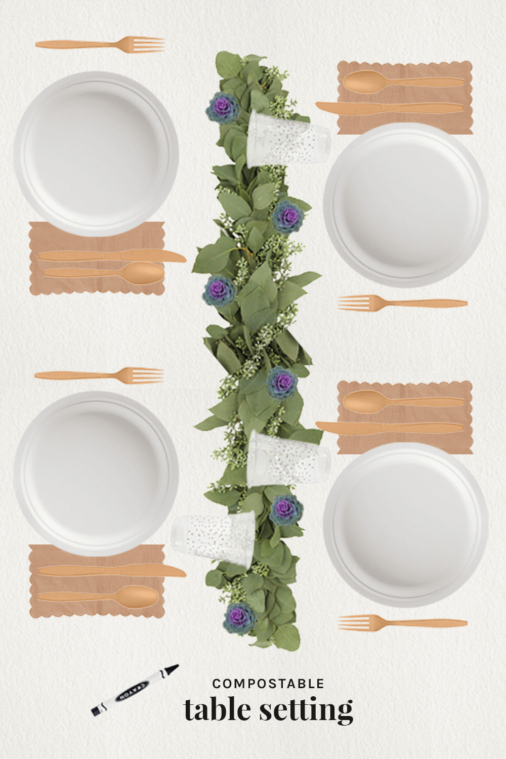 kid friendly compostable table setting