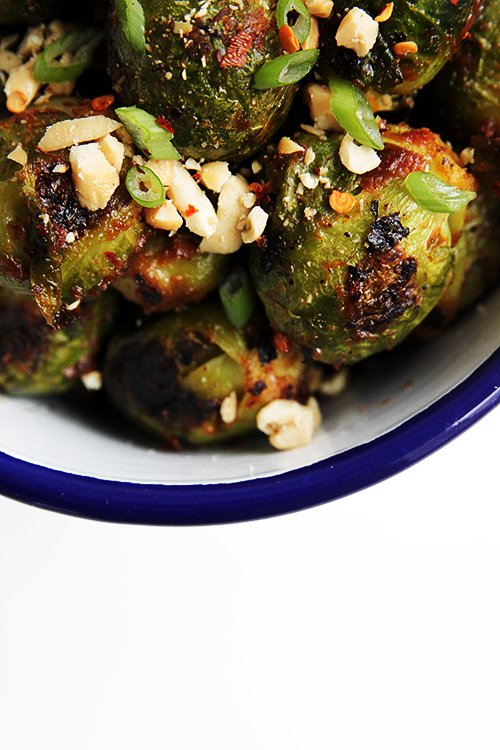 Brussels Sprouts Roasted in a Peanut Harissa Sauce | @thefauxmartha