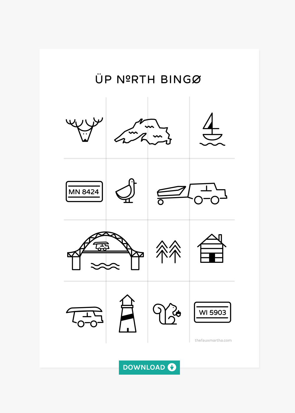Up North Bingo download from The Fauxmartha
