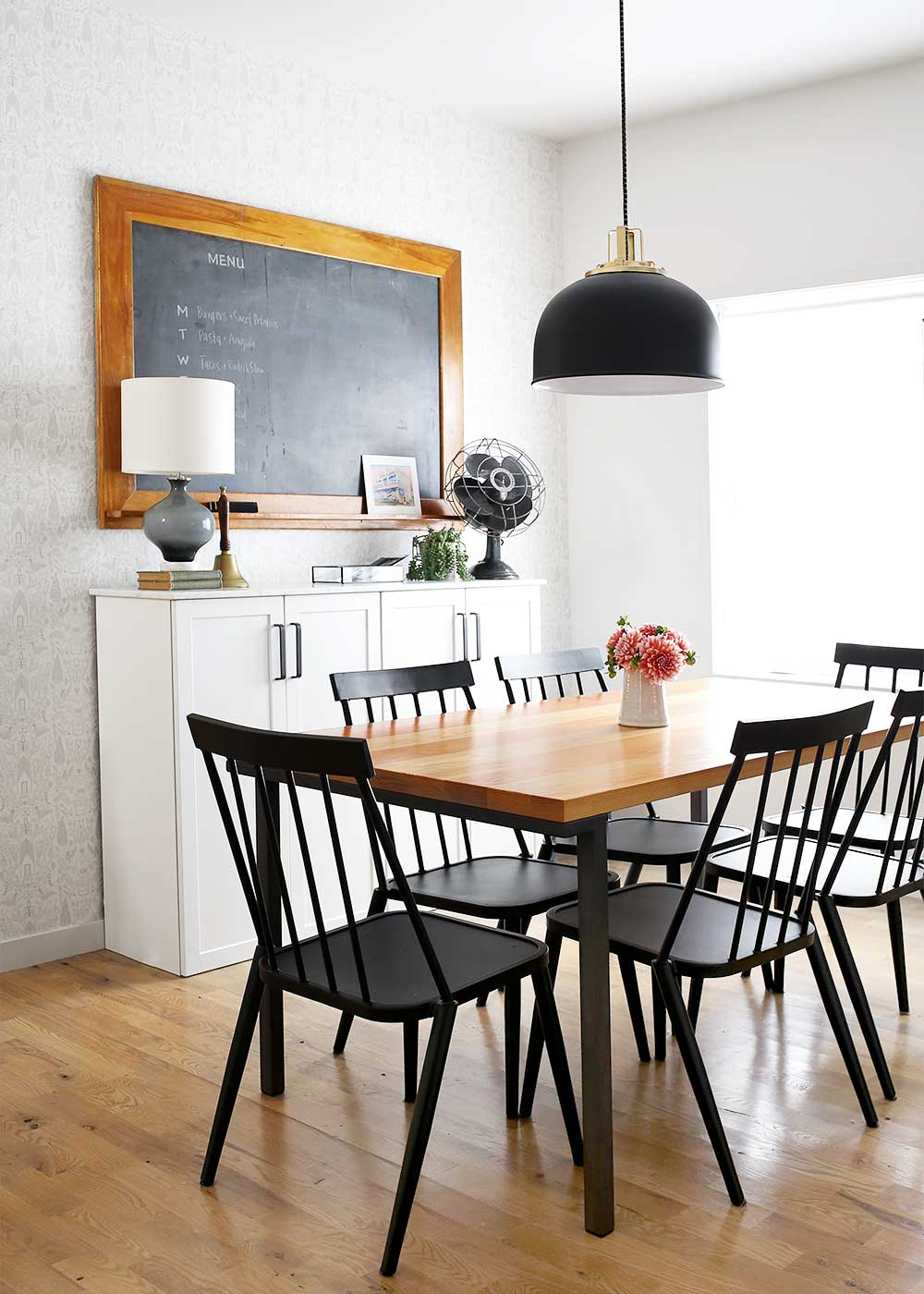 Modern Farmhouse Dining Room with Ikea Fauxdenza from The Fauxmartha