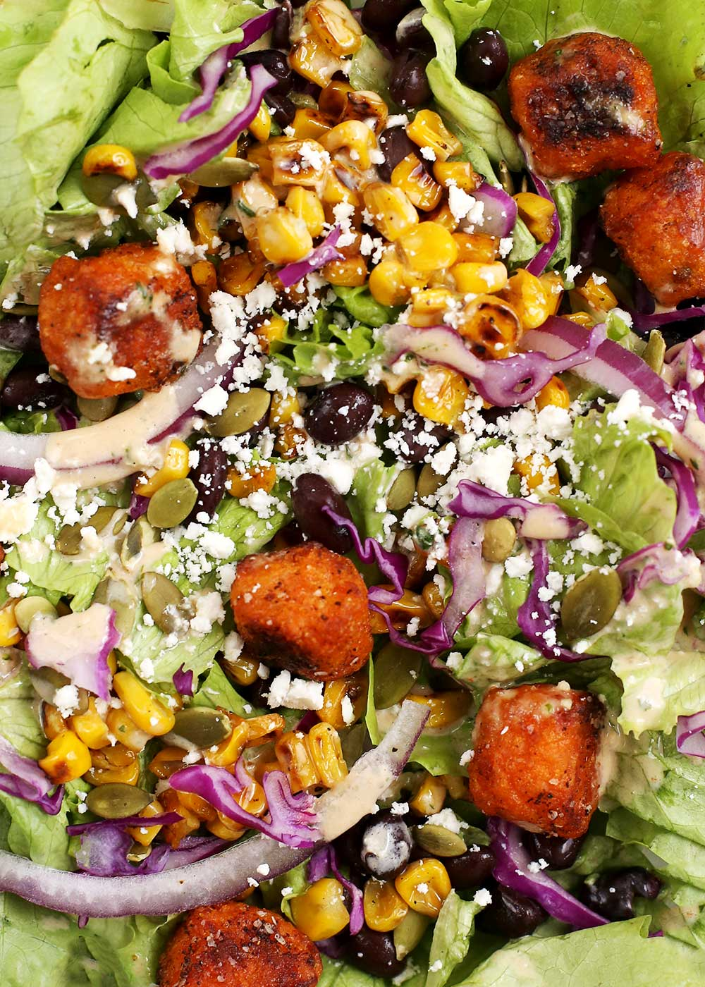 BBQ Ranch Southwest Salad with Sweet Potato Crouton Tots from The Fauxmartha