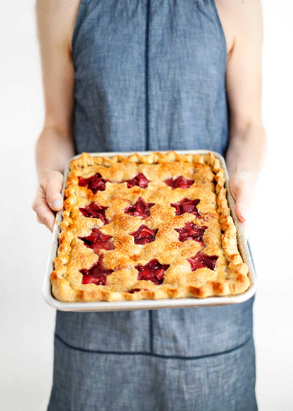 Holding a Strawberry Slab Pie from The Fauxmartha