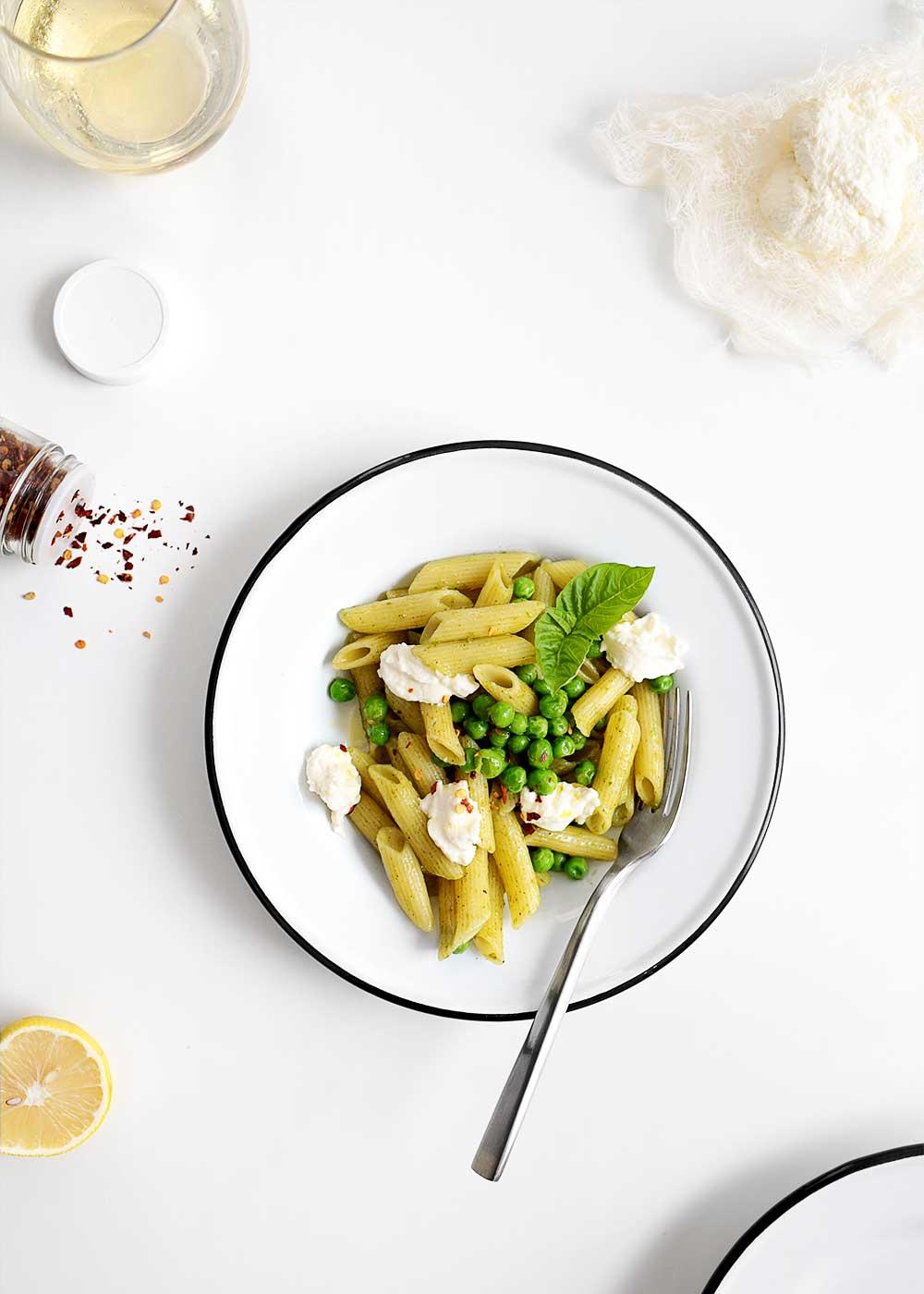 Homemade Ricotta on Pesto Pasta from The Fauxmartha
