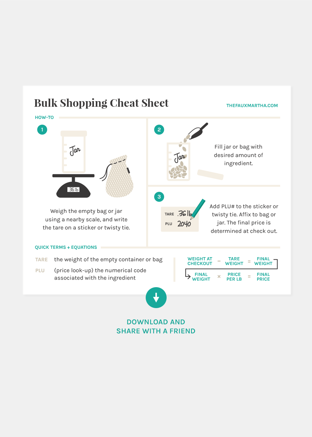 Bulk Shopping Cheat Sheet Printable from The Faux Martha