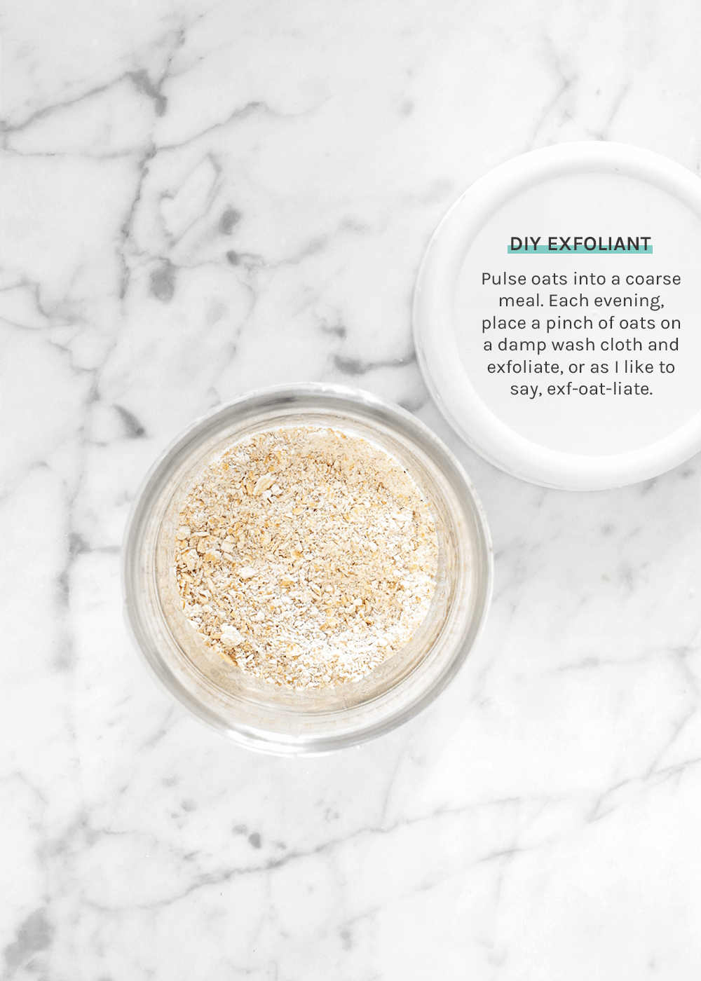 DIY Exfoliant made from oats from the faux martha