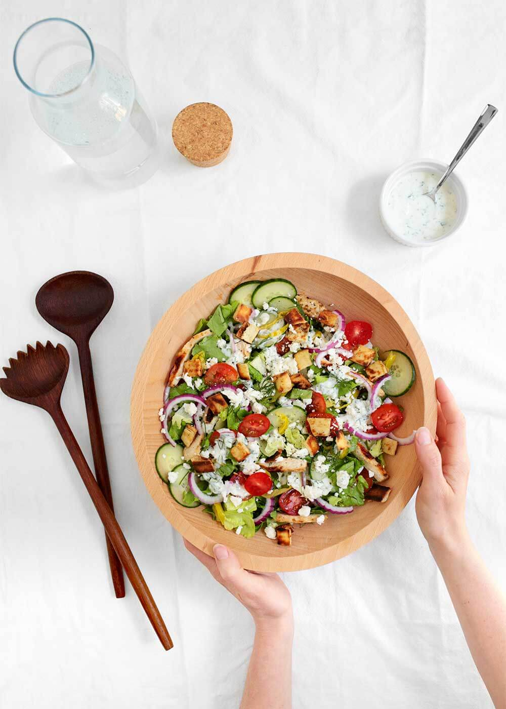family style chicken gyro salad from the faux martha