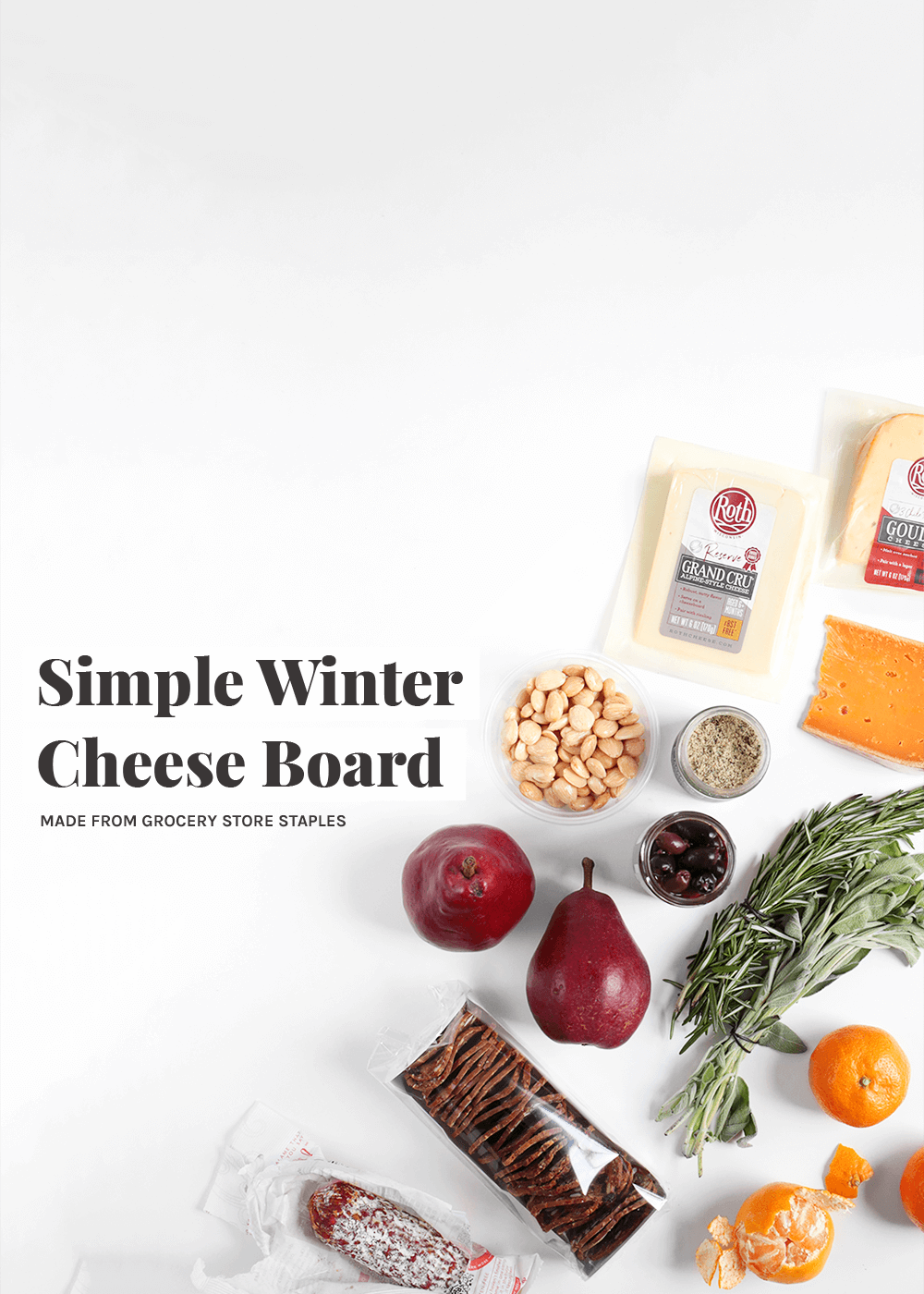 Simple Winter Cheese Board from The Faux Martha
