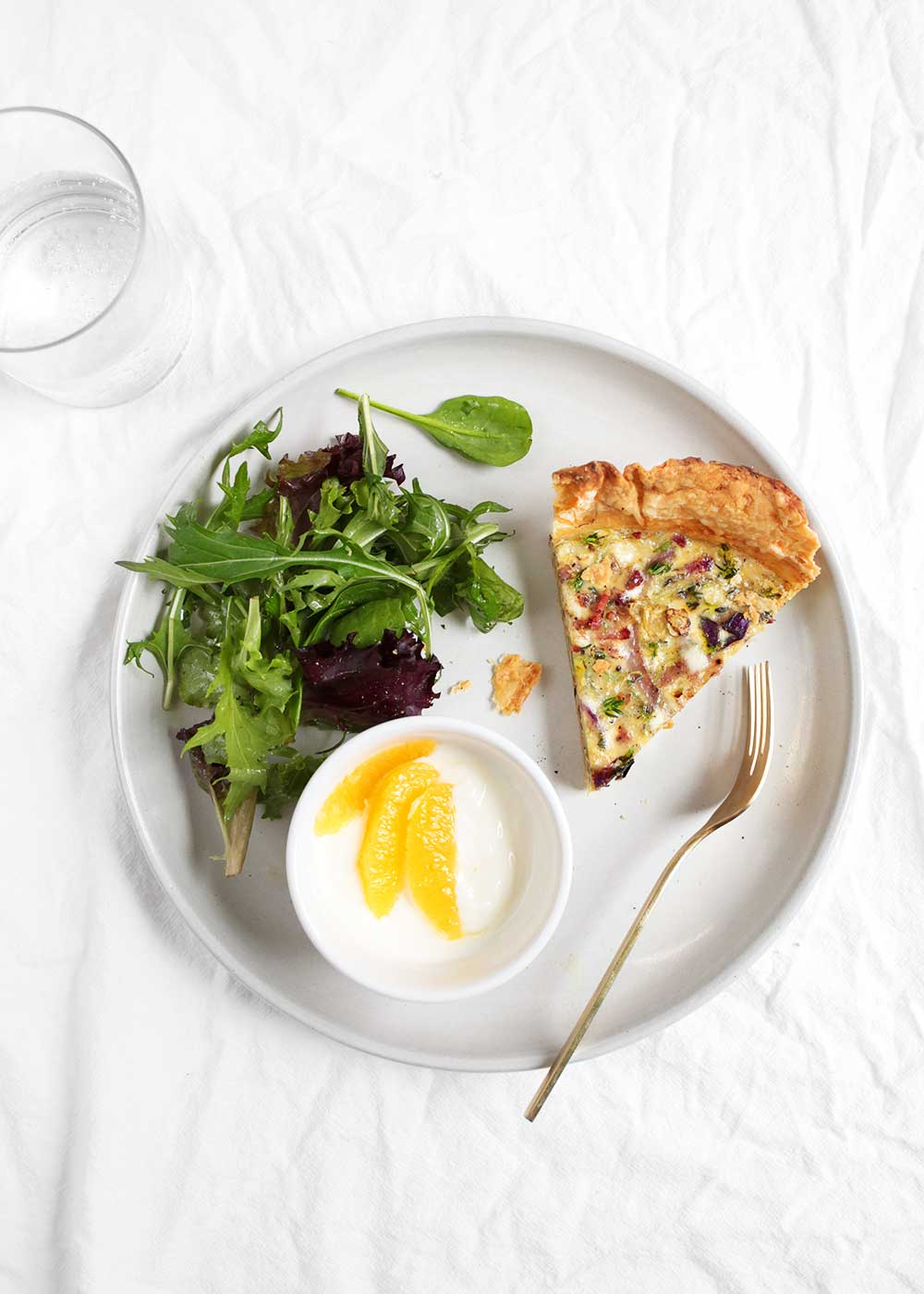 Shaved Brussels Sprouts Quiche from The faux martha