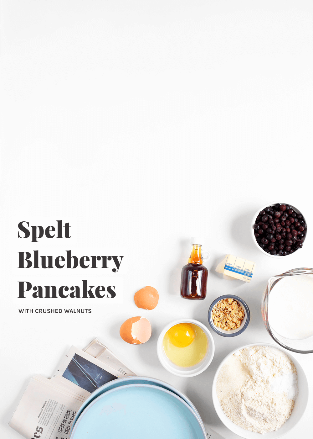 Spelt Blueberry Pancakes with walnuts from The Faux Martha