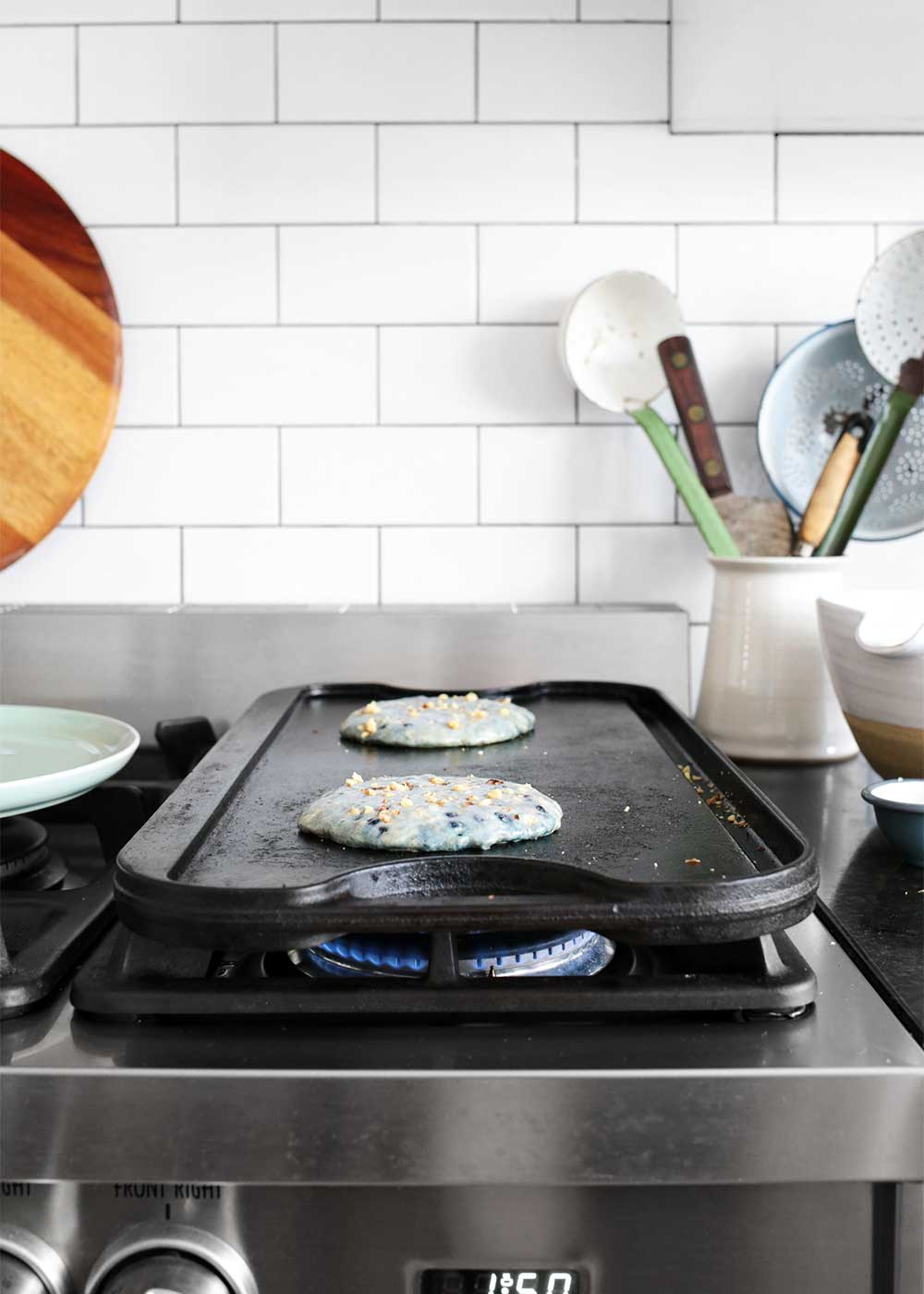 Cooking pancakes on a cast iron skillet