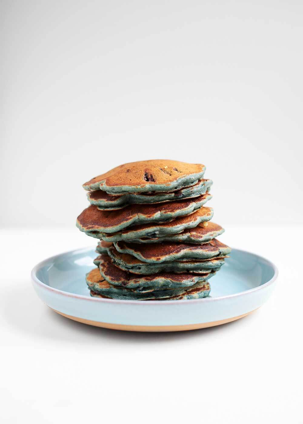 stack of Blueberry Spelt Pancakes from The Faux Martha