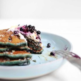 Blueberry Spelt Pancakes with walnuts from The Faux Martha
