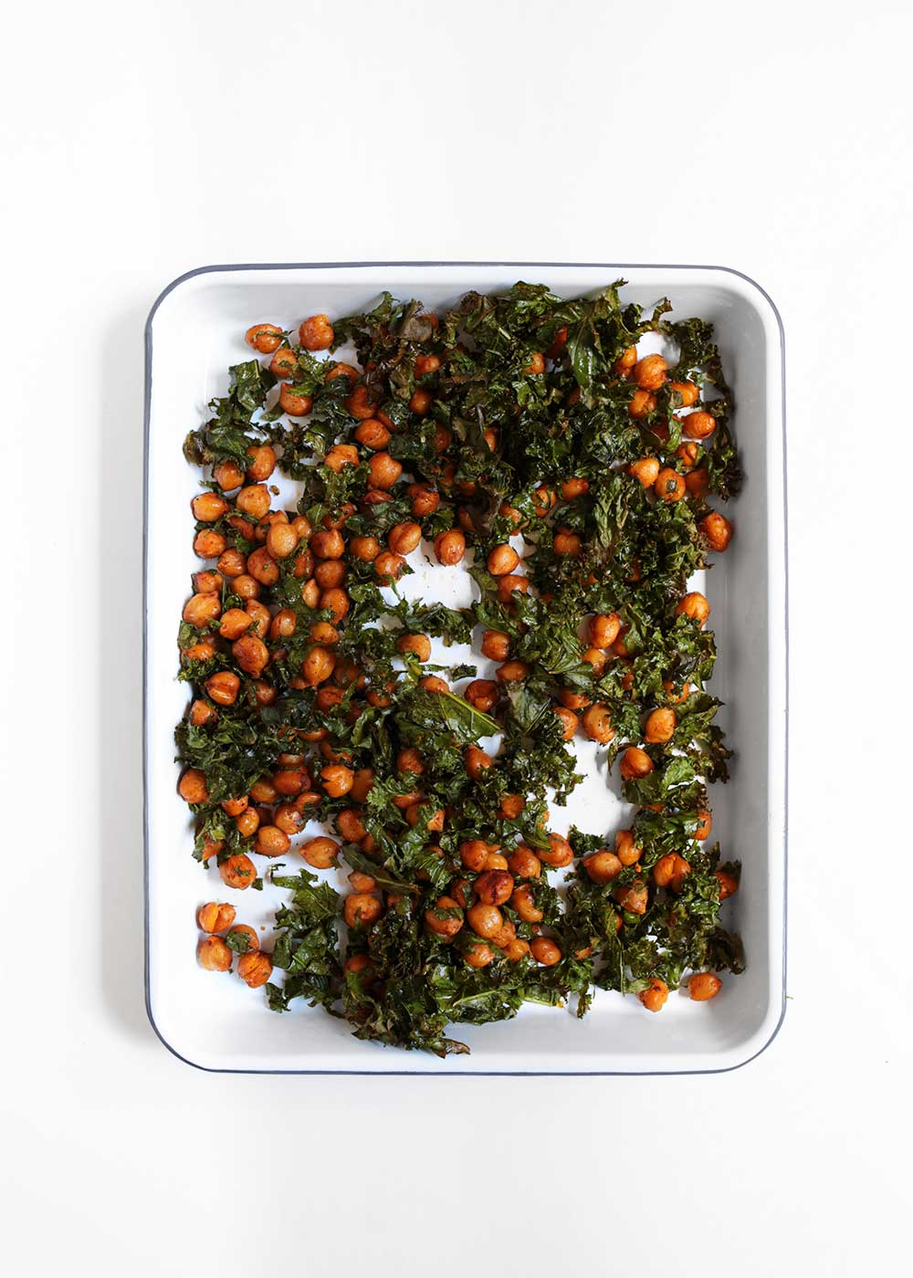 crispy kale and chickpeas on baking sheet