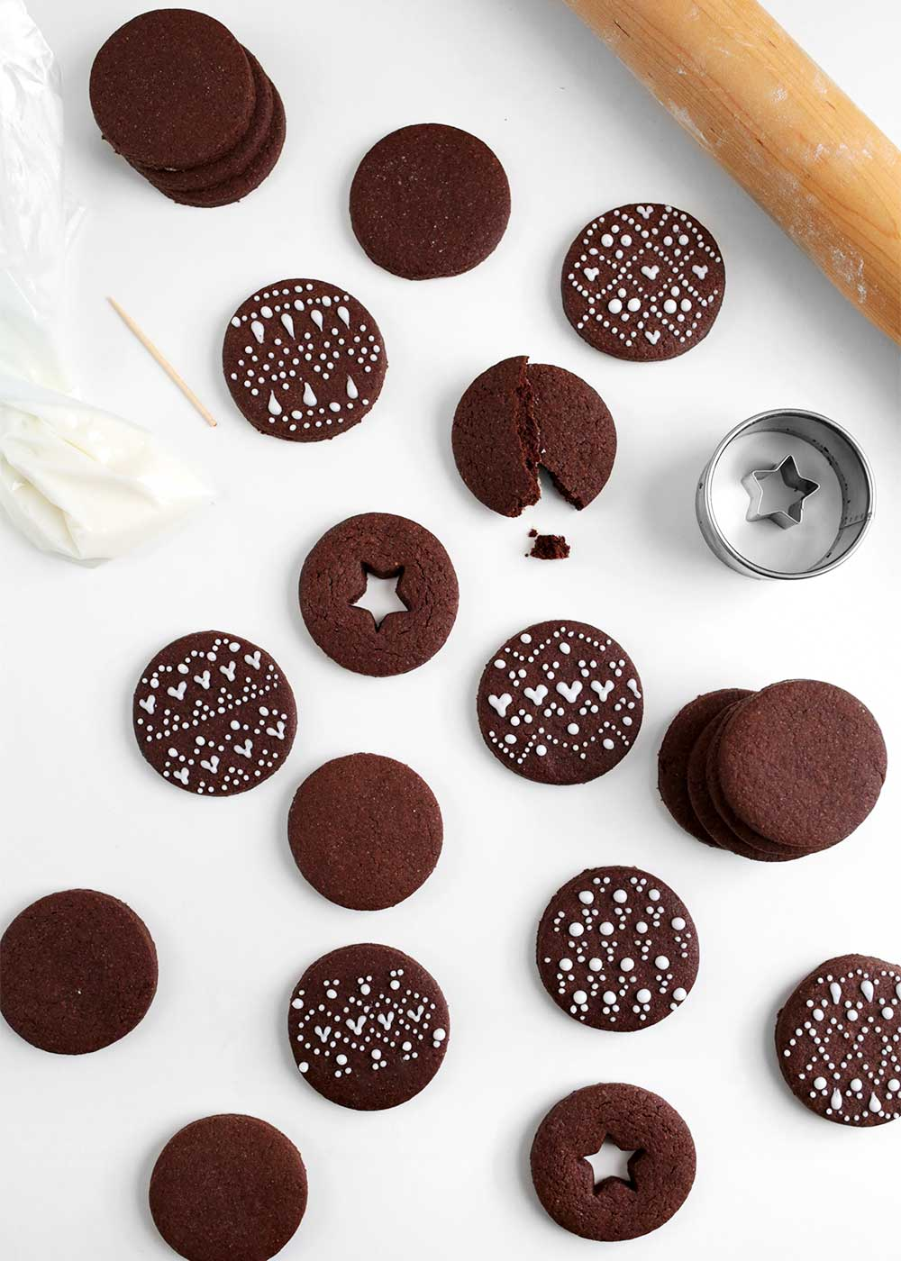 decorated Chocolate Cardamom Rye Cut-Out Cookies from the faux martha