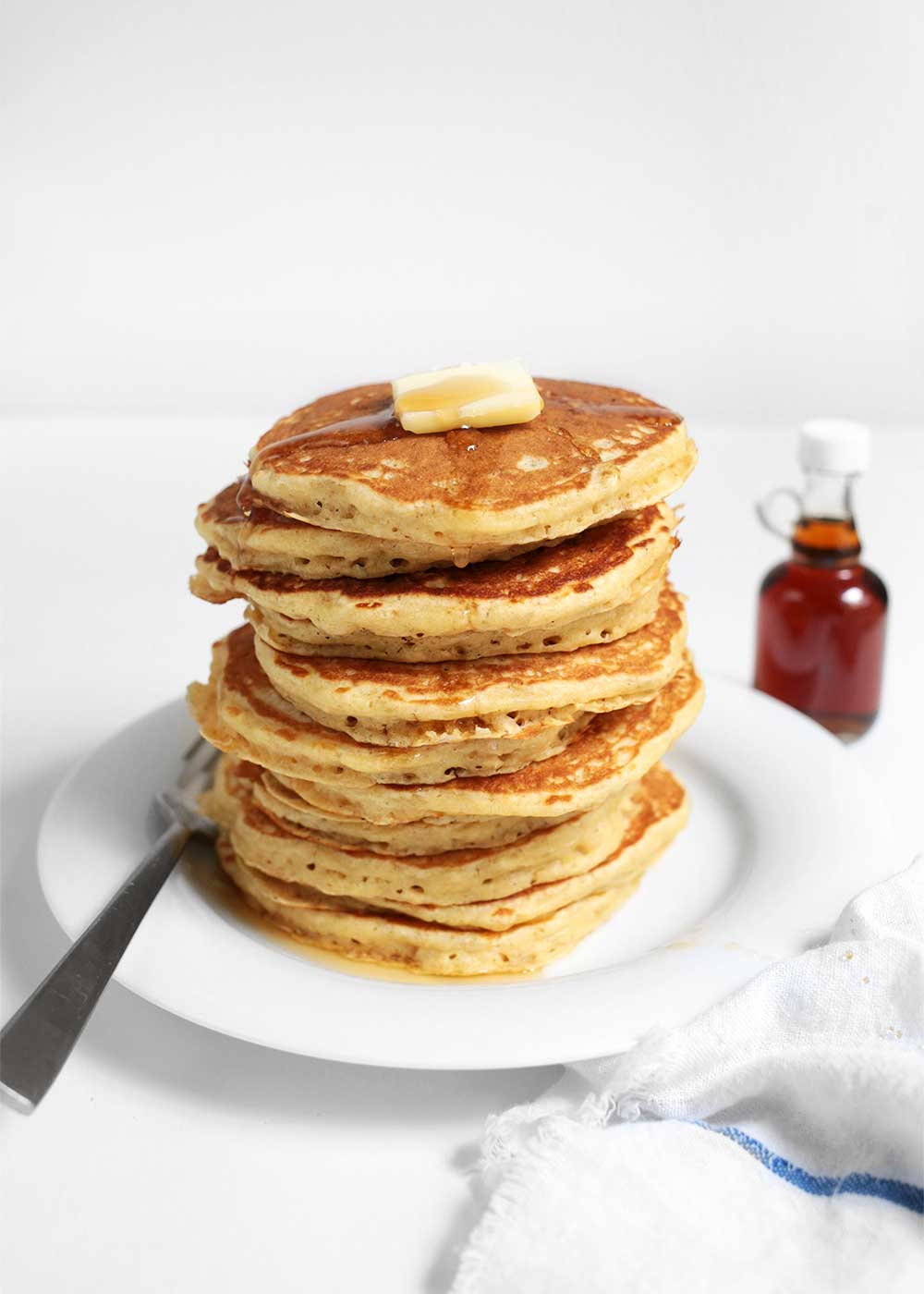 stack of Fluffy Multigrain Pancakes from the faux martha