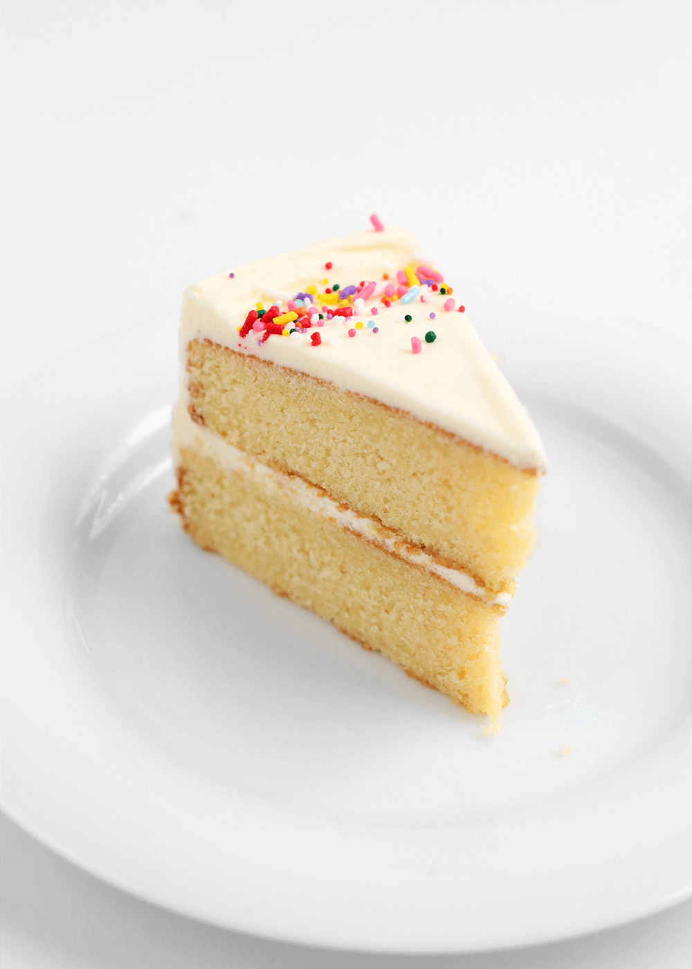 slice of vanilla cake using the reverse creaming method from the faux martha