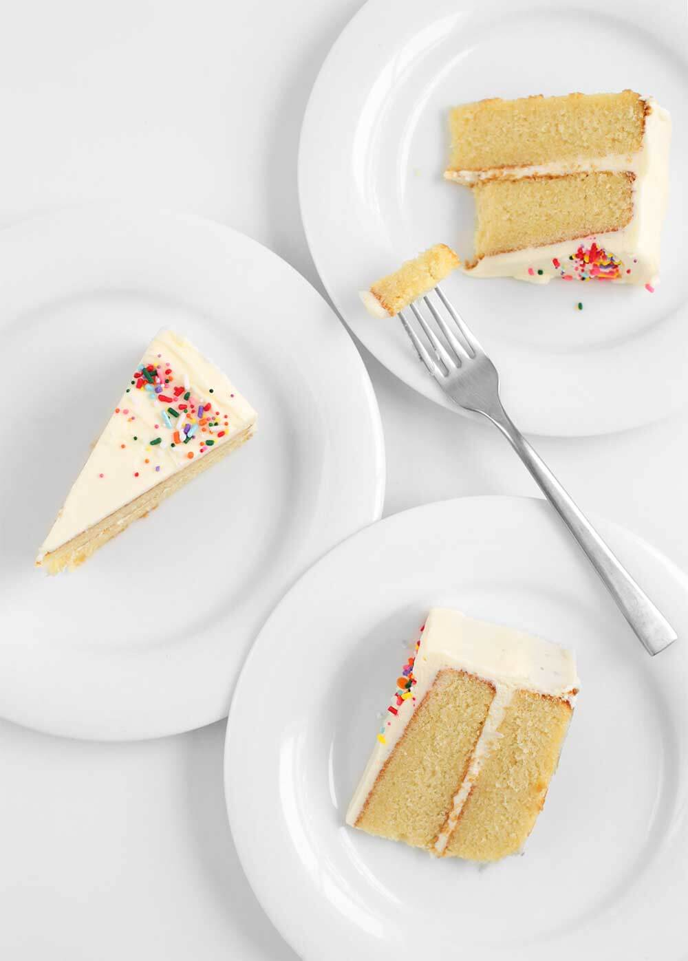 vanilla cake slices using the reverse creaming method from the faux martha