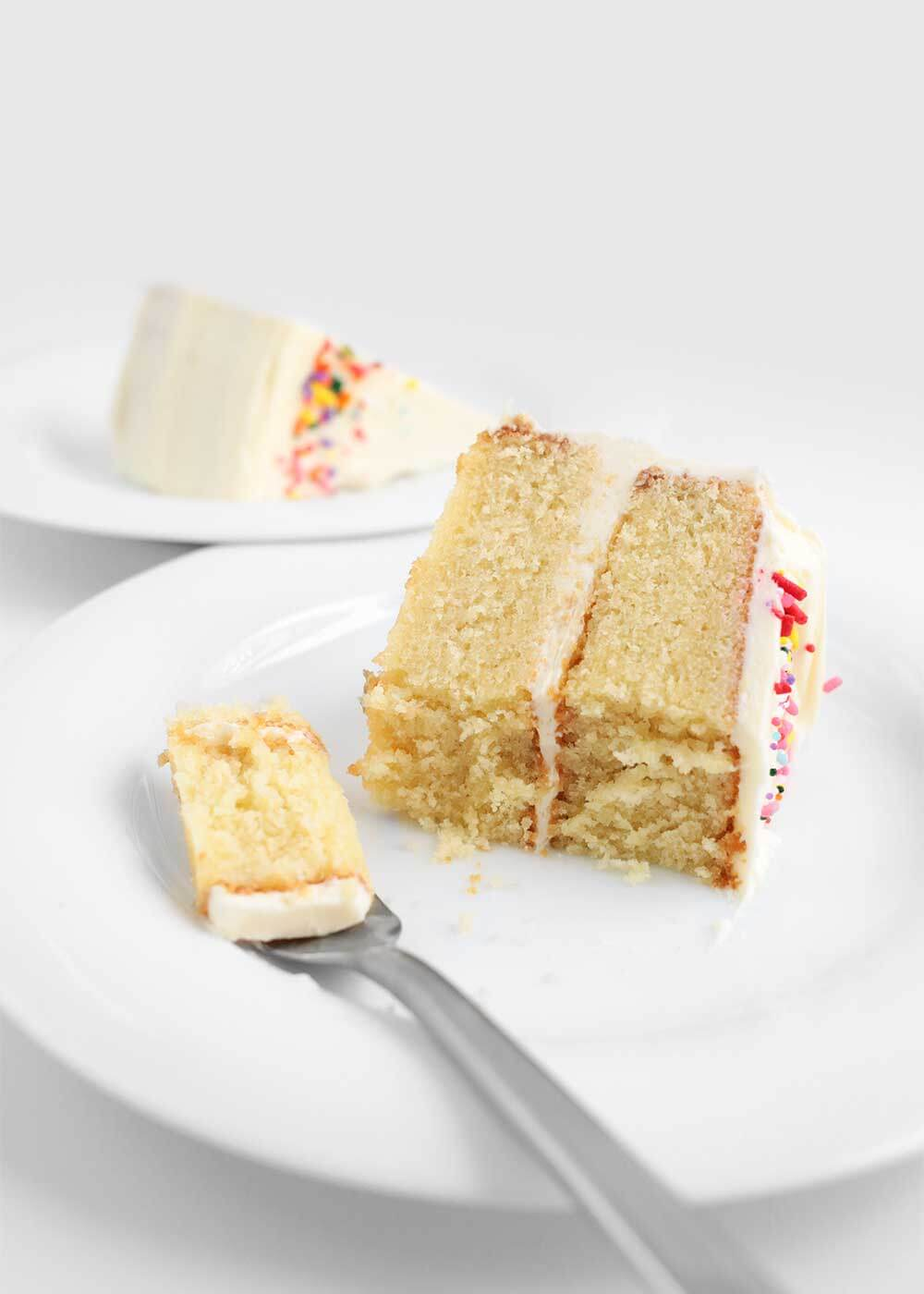 simple vanilla cake using the reverse creaming method from the faux martha